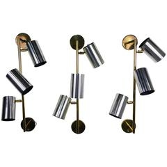 Massive Brass and Chrome Architectural Wall Sconces by Koch and Lowy