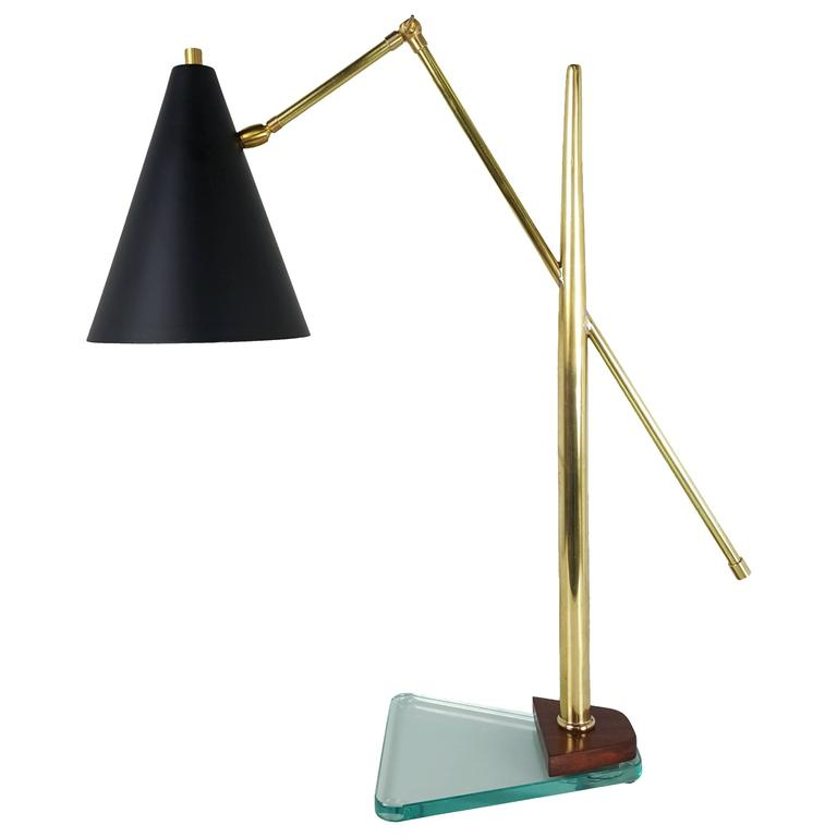 Architectural Italian Desk Lamp in the Style of Fontana Arte