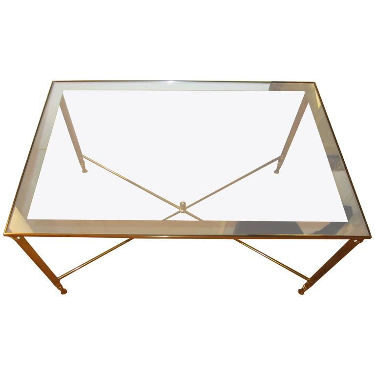 Brass and Glass Directoire Style Coffee or Cocktail Table