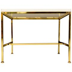 Brass Side Table with Milk Glass Top