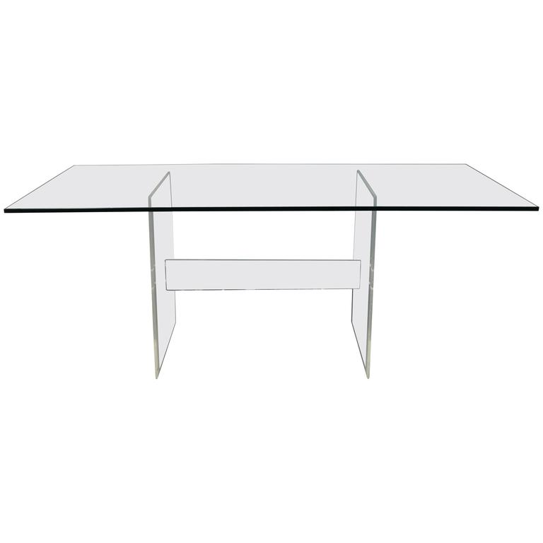 Lucite base glass top dining table or desk for sale at 1stdibs for Bases for dining room tables