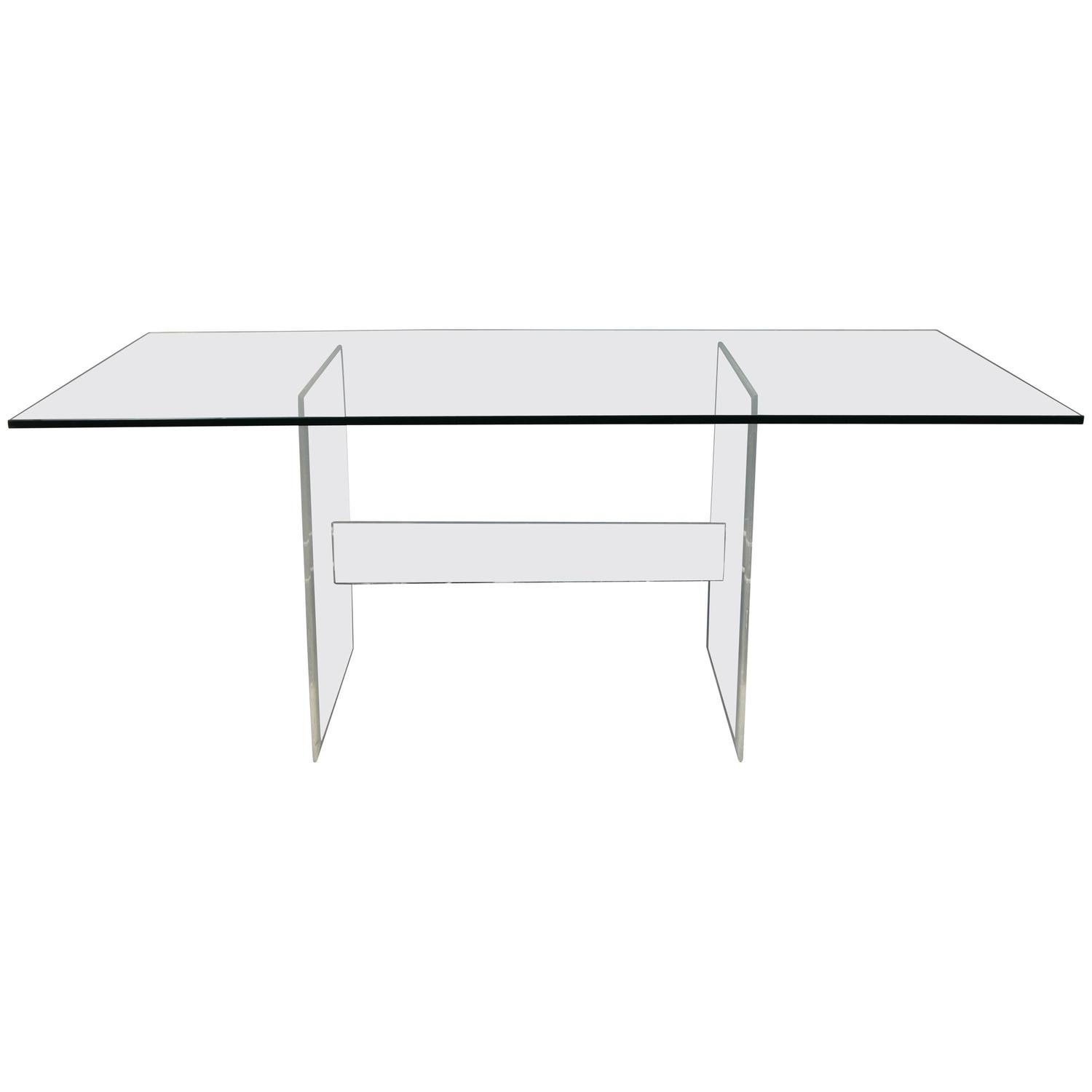 lucite base glass top dining table or desk for sale at 1stdibs
