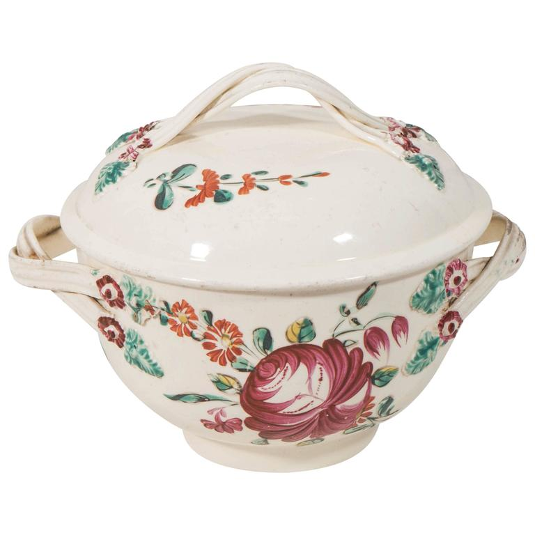 "Antique Creamware ""King's Rose"" Pattern Sugar Bowl"
