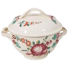 """Antique Creamware """"King's Rose"""" Pattern Sugar Bowl Made circa 1780-1790"""