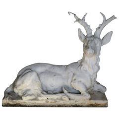 Cast Stone Sitting Stag Garden Statue