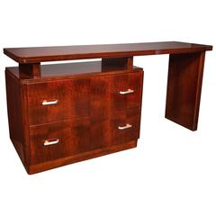Art Deco Desk and Dressing Table in Bookmatched Mahogany