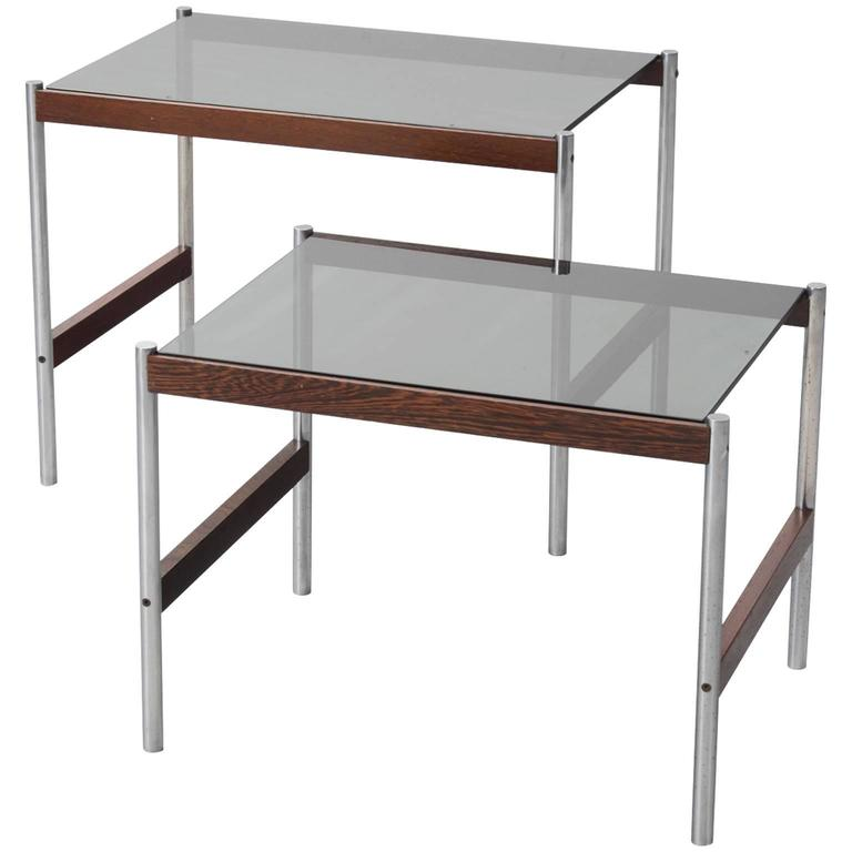 Set of Two Nesting Tables with Brushed Steel and Wood