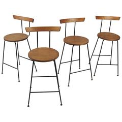 Set of Four Vintage Walnut Barstools by Clifford Pascoe