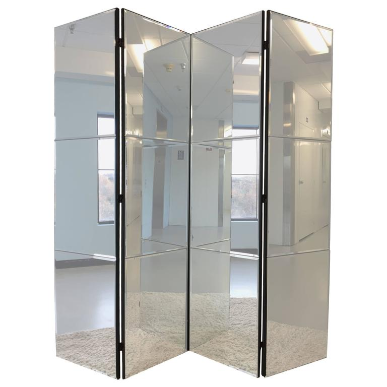 Beveled Mirrored Screen Room Divider For