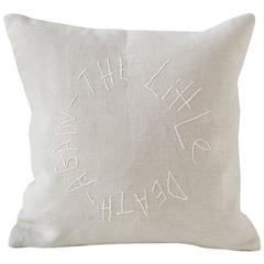 'La Petite Mort' Embroidered Text Pillow