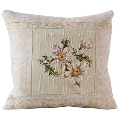 Reverse Needlpoint Pillow with Japanese Brocade Textile Cushion