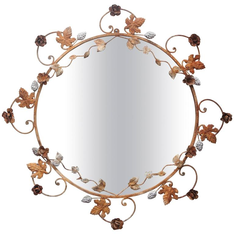 Flower and Leaves Rusted Metal Mirror For Sale