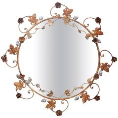 Flower and Leaves Rusted Metal Mirror