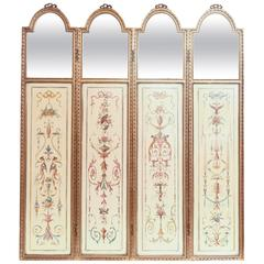 Four-Panel French 19th Century Giltwood Hand-Painted Screen with Mirror