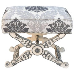 Empire Form Stool, Painted, with Damask Box Seat