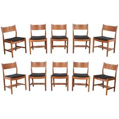 Set of Ten Teak Danish Dining Chairs by Borge Mogensen