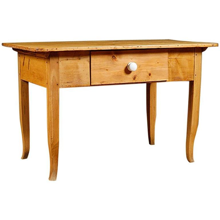 Biedermeier Country Pine Table with Drawer, circa 1825 For Sale