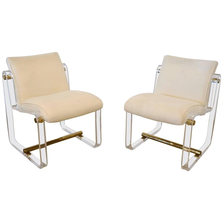 Acrylic And Brass Chairs At 1stdibs