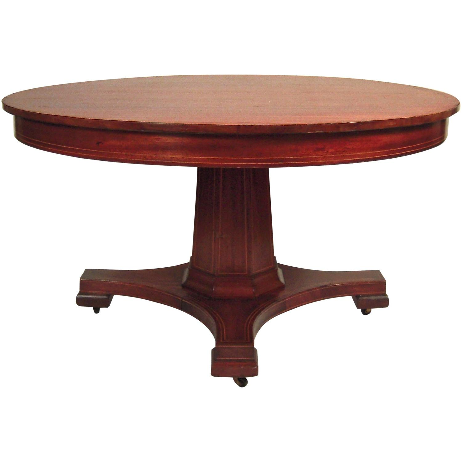 Inlaid mahogany round extension dining table 54 diameter for Round extension dining table