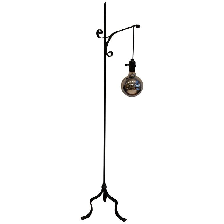 Machine Age Industrial Black Wrought Iron Floor Lamp With Mercury