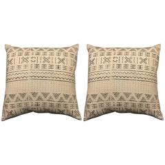 Pair White and Black African Mud Cloth Pillows