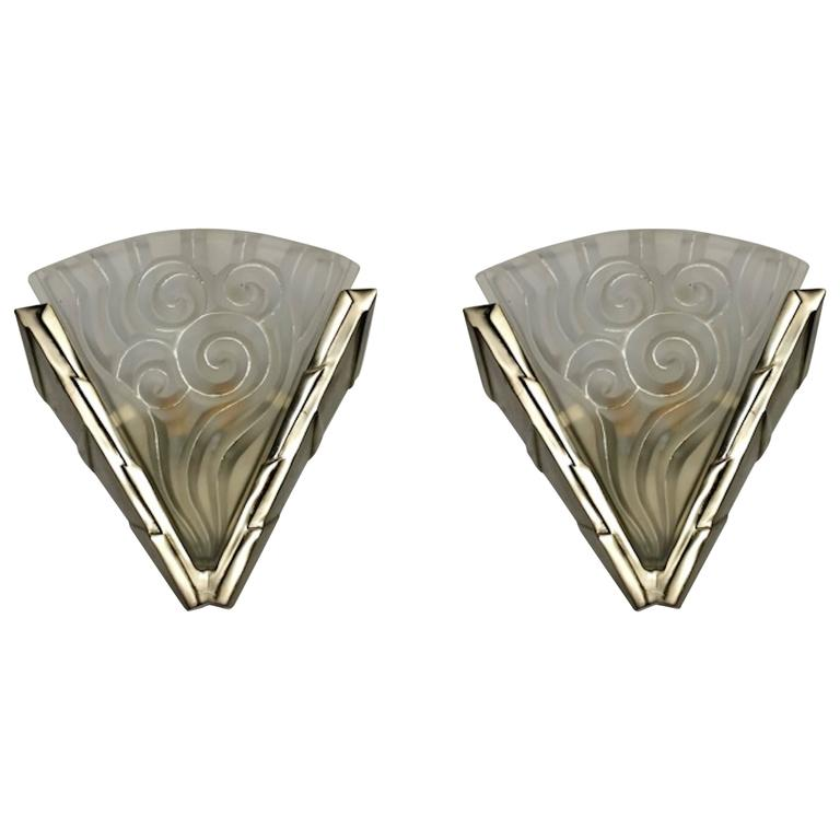 """Pair of French Art Deco Wall Sconces by """"Degue"""""""
