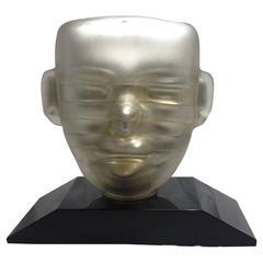 Pedro Ramirez Vazquez Mercury Glass Mask Sculpture Signed