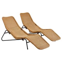 Set of Two Chaise Lounges in Cane