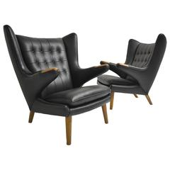 Pair of Early Papa Bear Chairs by Hans Wegner in Black Leather