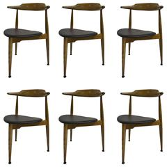 Set of Six Early Heart Chairs by Hans Wegner for Fritz Hansen