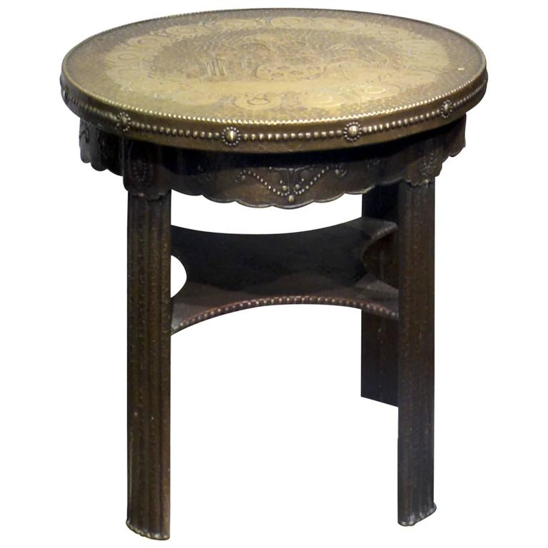 Repouss Brass Covered Side Table At 1stdibs