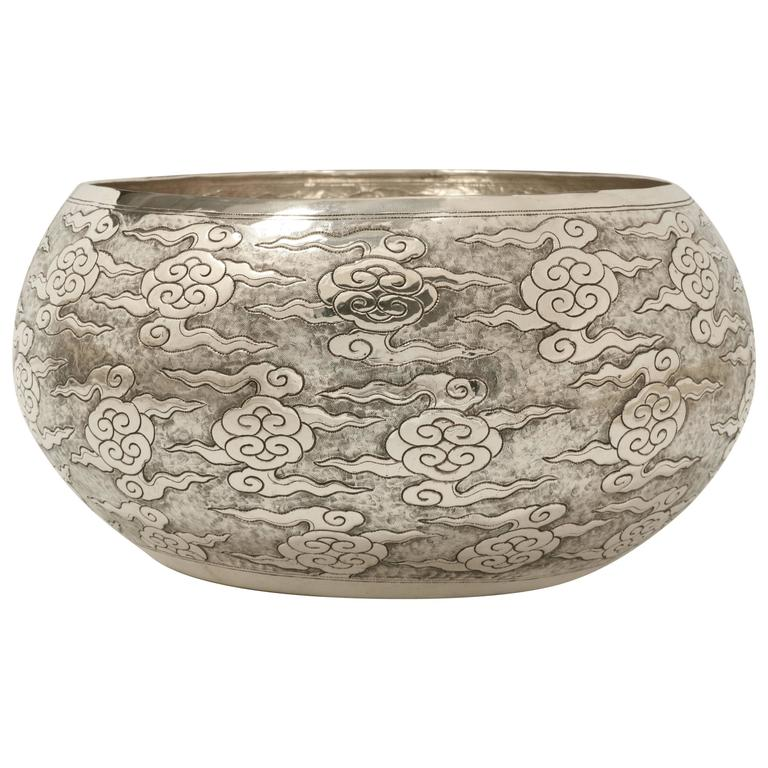 Large Hand-Worked Solid Silver Ceremonial Bowl, Cloud Motif, Centerpiece For Sale