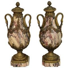 Pair of Pink Marble Urns