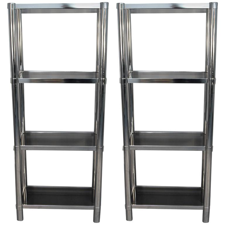 Chrome Tubular Étageré with Smoked Glass Shelves For Sale at 1stdibs