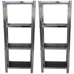 pair of tall custom brass tag res with glass shelves for sale at 1stdibs. Black Bedroom Furniture Sets. Home Design Ideas