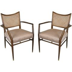 Pair of Stylish Mid-Century Walnut and Cane Armchairs