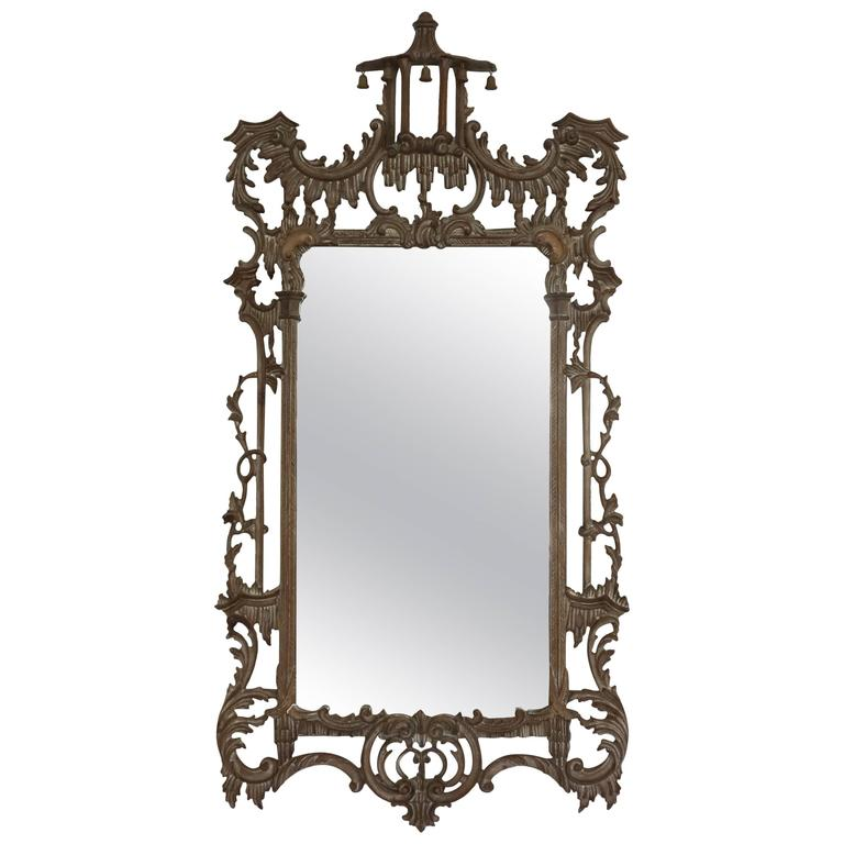 Chinese Chippendale Hand-Carved wood Mirror