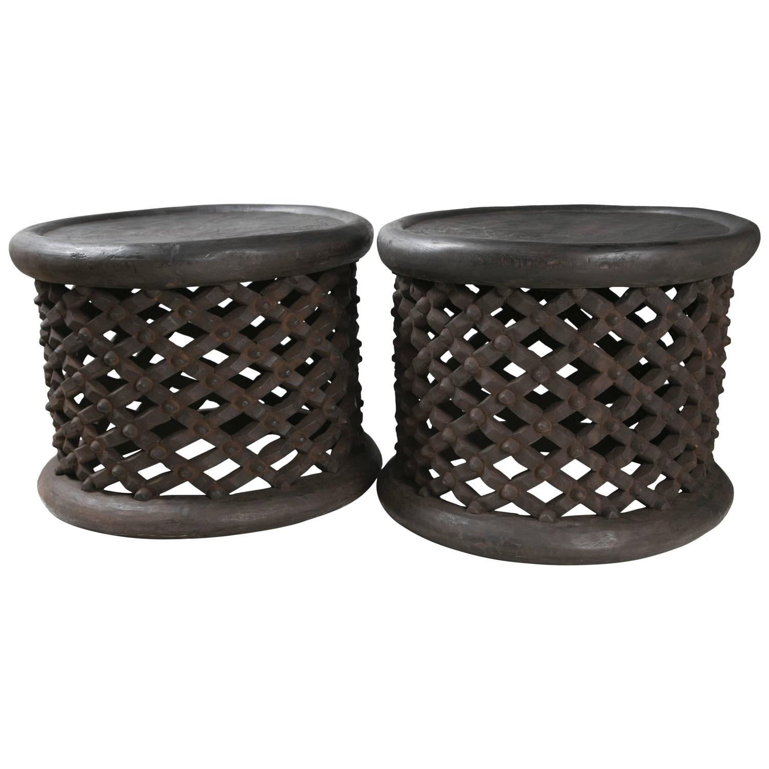 Tree Trunk Coffee Table South Africa: Cameroon Side Tables, Ottomans Pair At 1stdibs