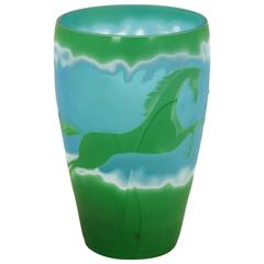 Blue and Green Art Glass Cameo Vase in the Style of Galle