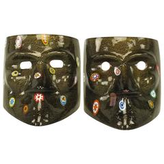Handblown Gold Flecked and Fused Black Murano Glass Carnivale Masks