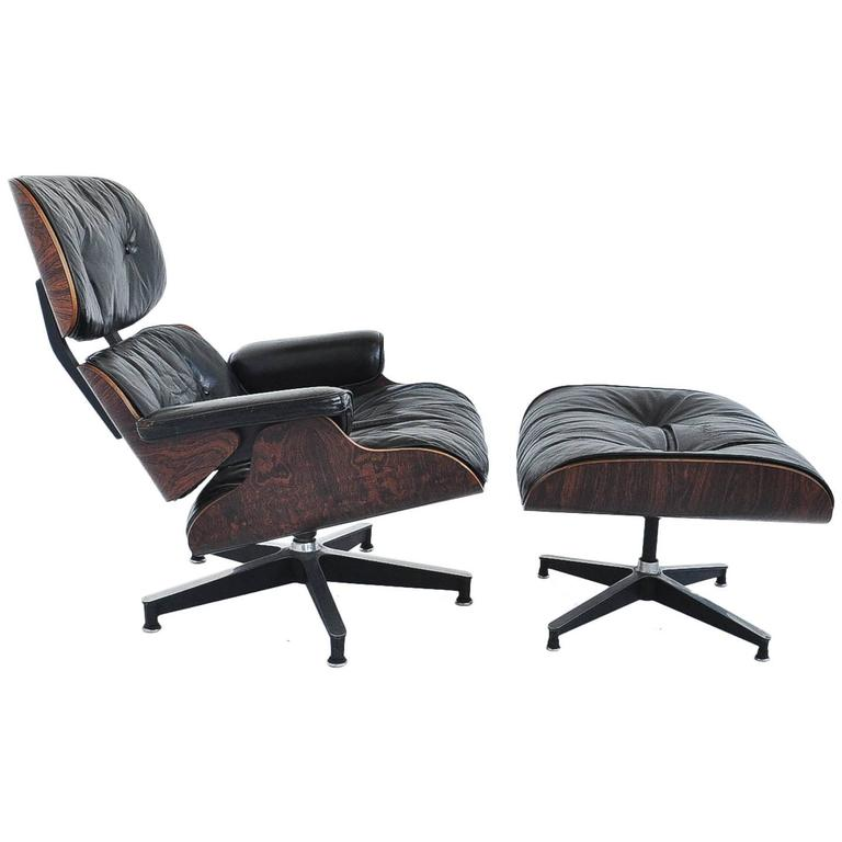 Early Ray And Charles Eames 670 671 Leather Lounge Chair