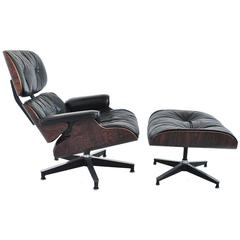 Early Ray and Charles Eames 670/671 Leather Lounge Chair with Ottoman
