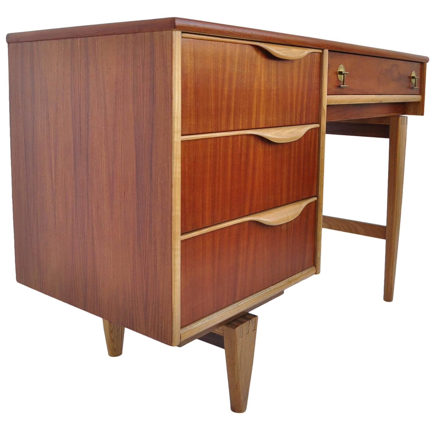Walnut And Birch Writing Desk By American Furniture Company Stanley At 1stdibs