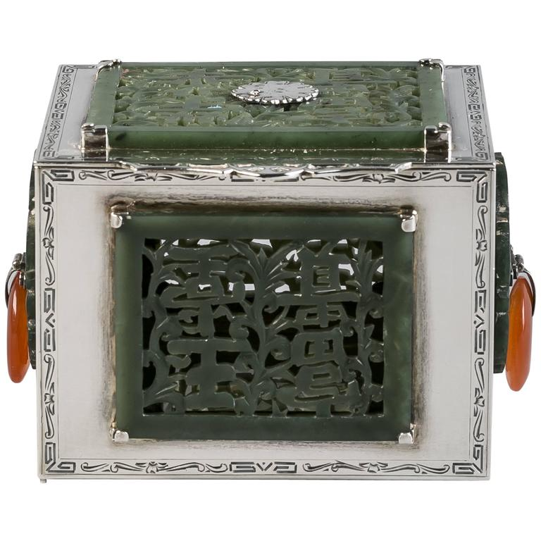 Sterling Silver and Jade Box, Farmer, circa 1920 For Sale