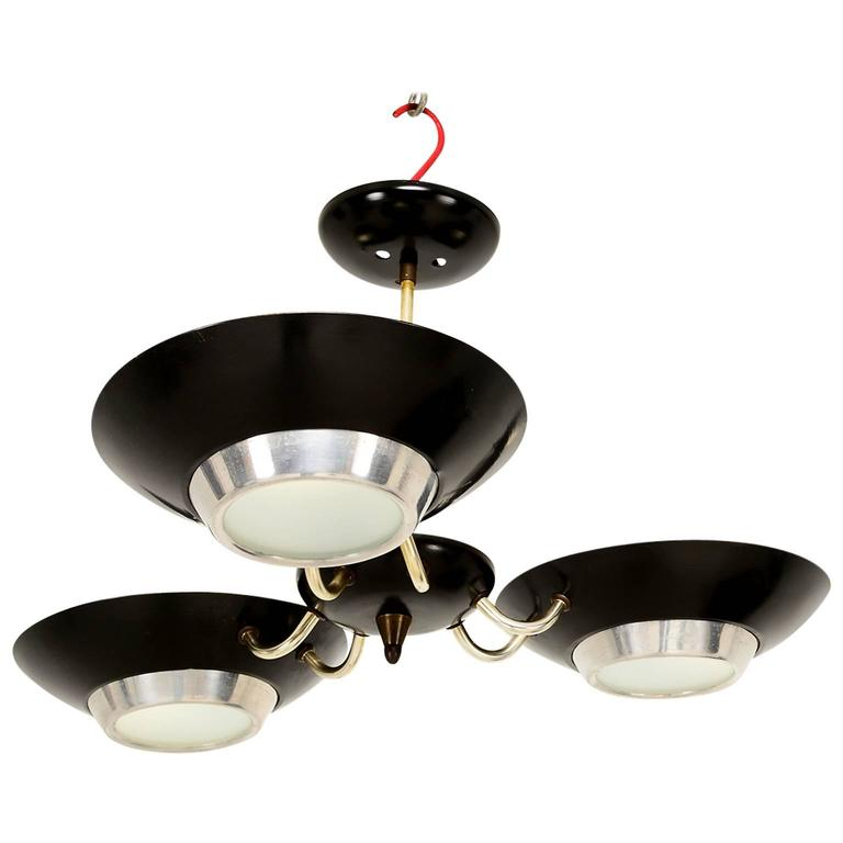 Mid Century Modern Three-Light Ceiling Fixture
