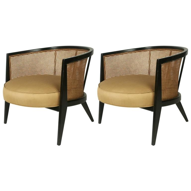 Pair Of Harvey Probber Oval Caned Lounge Chairs At 1stdibs