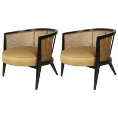 Pair of Harvey Probber Oval Caned Lounge Chairs