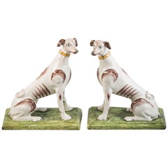 Pair of Continental Faience Dogs, Belgian, circa 1785