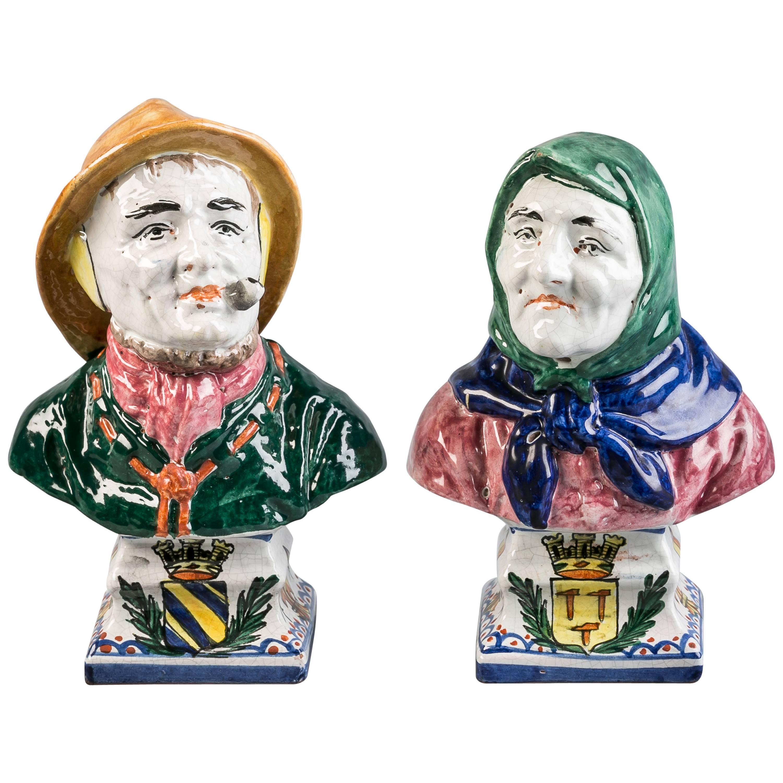 Pair of Italian Majolica Busts, circa 1870