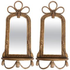 Pair of Roped Mirror Wall Sconces